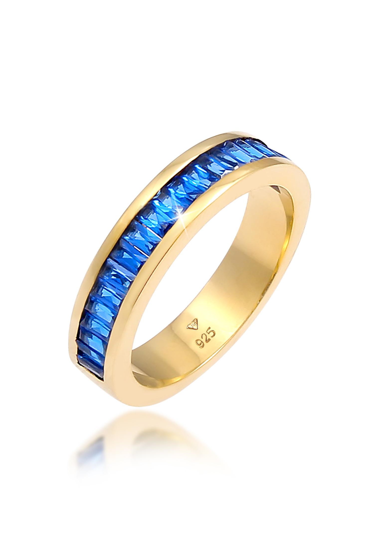 Bandring | Saphir ( Blau ) | 925 Sterling Silber vergoldet