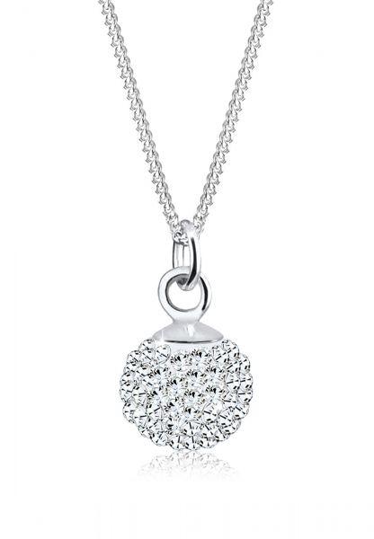 Halskette Kugel | Kristall ( Weiß ) | 925er Sterling Silber