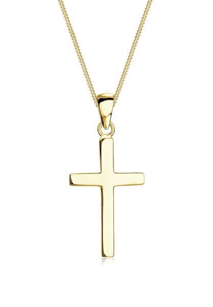 Halskette Kreuz | 375 Gelbgold