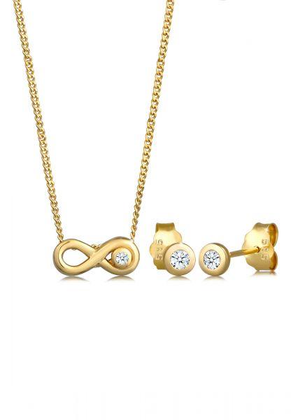 Schmuckset Infinity | Diamant ( Weiß, 0,075 ct ) | 585 Gelbgold