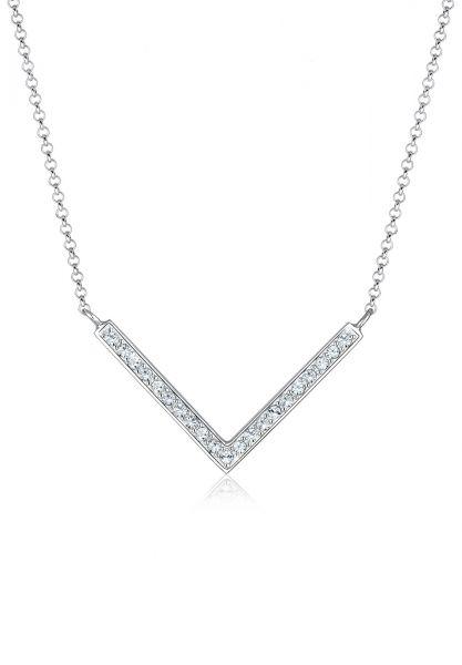 Elli Halskette V-Kette Kristalle 925 Silber