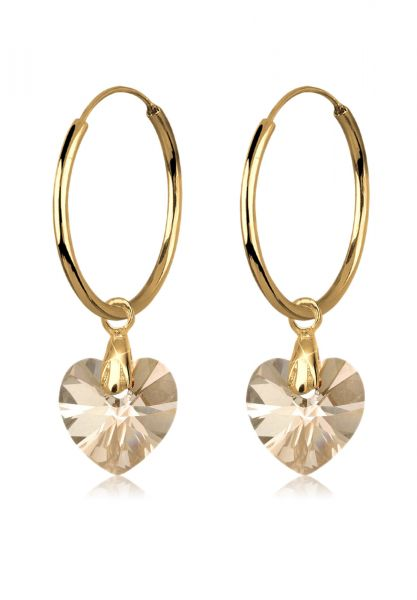Creole Herz   Kristall ( Gold )   925 Sterling Silber vergoldet