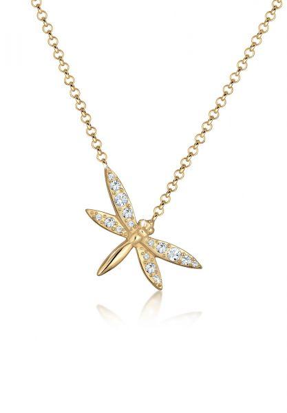 Halskette Libelle   Kristall ( Weiß )   925 Sterling Silber vergoldet