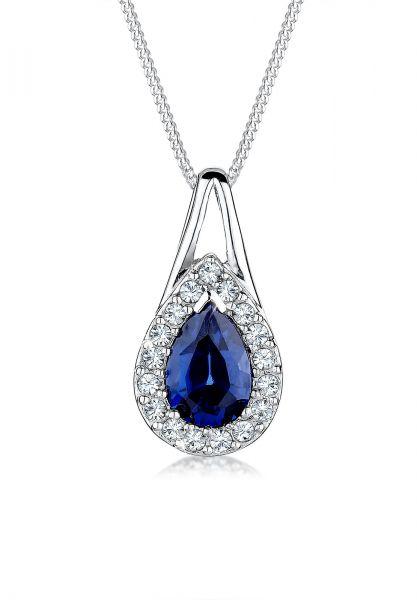 Elli Halskette Tropfen Saphir Kristalle 925 Silber