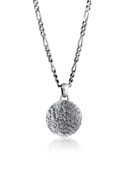 Halskette Münze Strukturiert   925er Sterling Silber