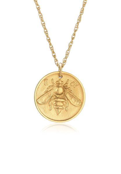 Elli Halskette Münze Antik Coin Biene 925 Silber vergoldet