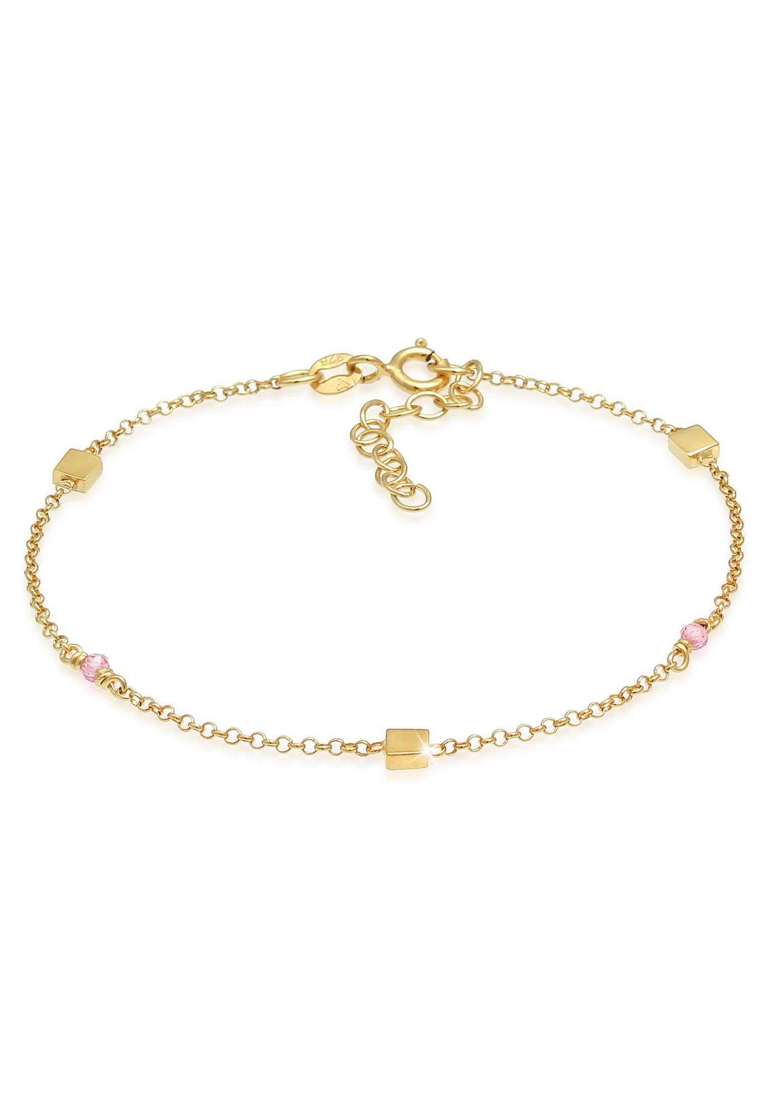 Armband | Quarz ( Rosa ) | 925 Sterling Silber vergoldet