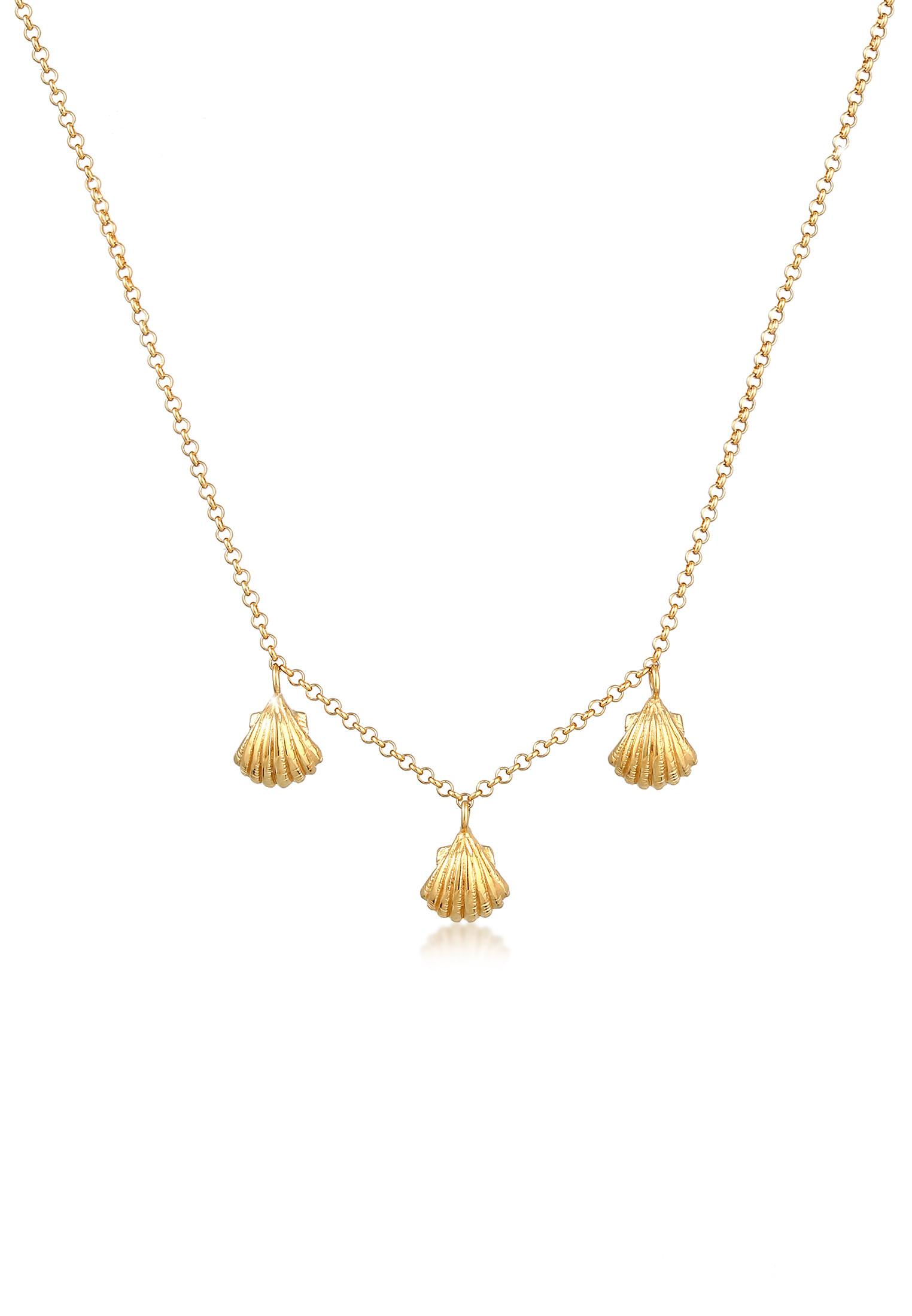 Halskette Muschel | 925 Sterling Silber vergoldet