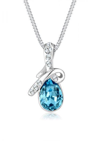 Halskette Tropfen | Kristall ( Hellblau ) | 925er Sterling Silber