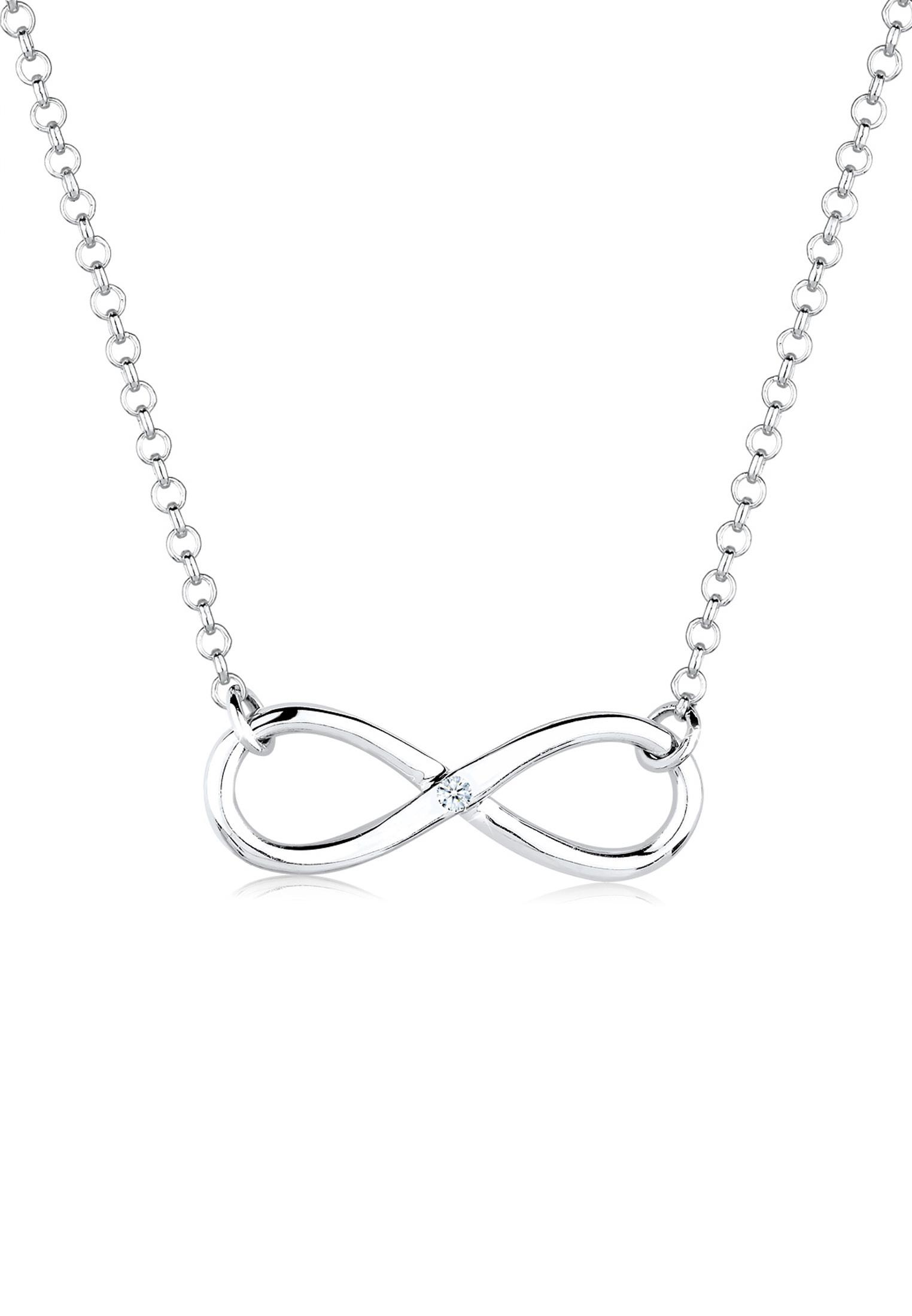 Halskette Infinity   Diamant ( Weiß, 0,03 ct )   925er Sterling Silber