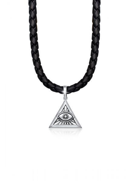 Halskette Dreieck | Leder | 925er Sterling Silber