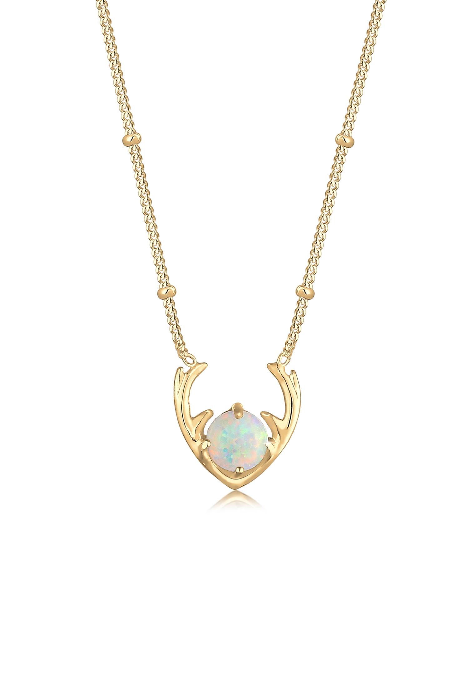 Halskette Hirsch | Opal ( Weiß ) | 925er Sterling Silber