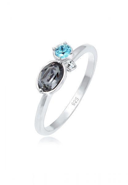 Ring   Kristall ( Grau )   925er Sterling Silber
