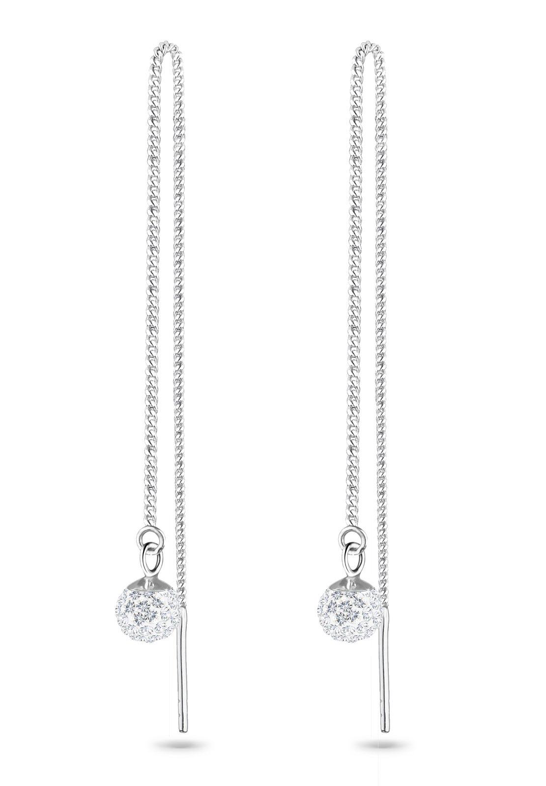 Ohrhänger Ear Chain | Kristall ( Weiß ) | 925er Sterling Silber