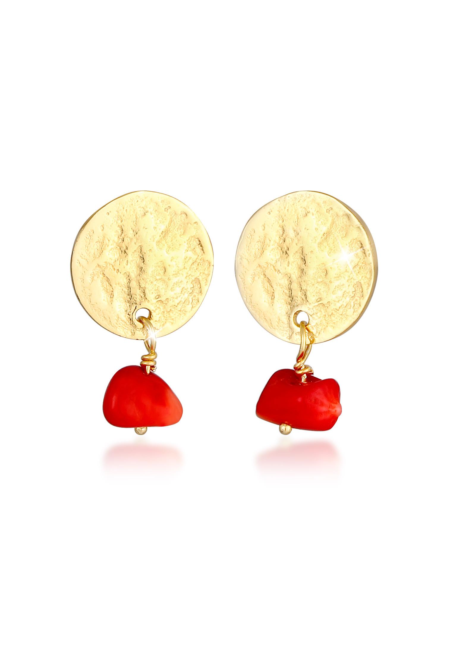 Ohrhänger   Koralle ( Rot )   925 Sterling Silber vergoldet