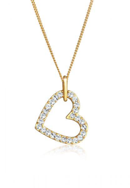 Elli Halskette Herz Funkelnd Kristalle 925 Silber