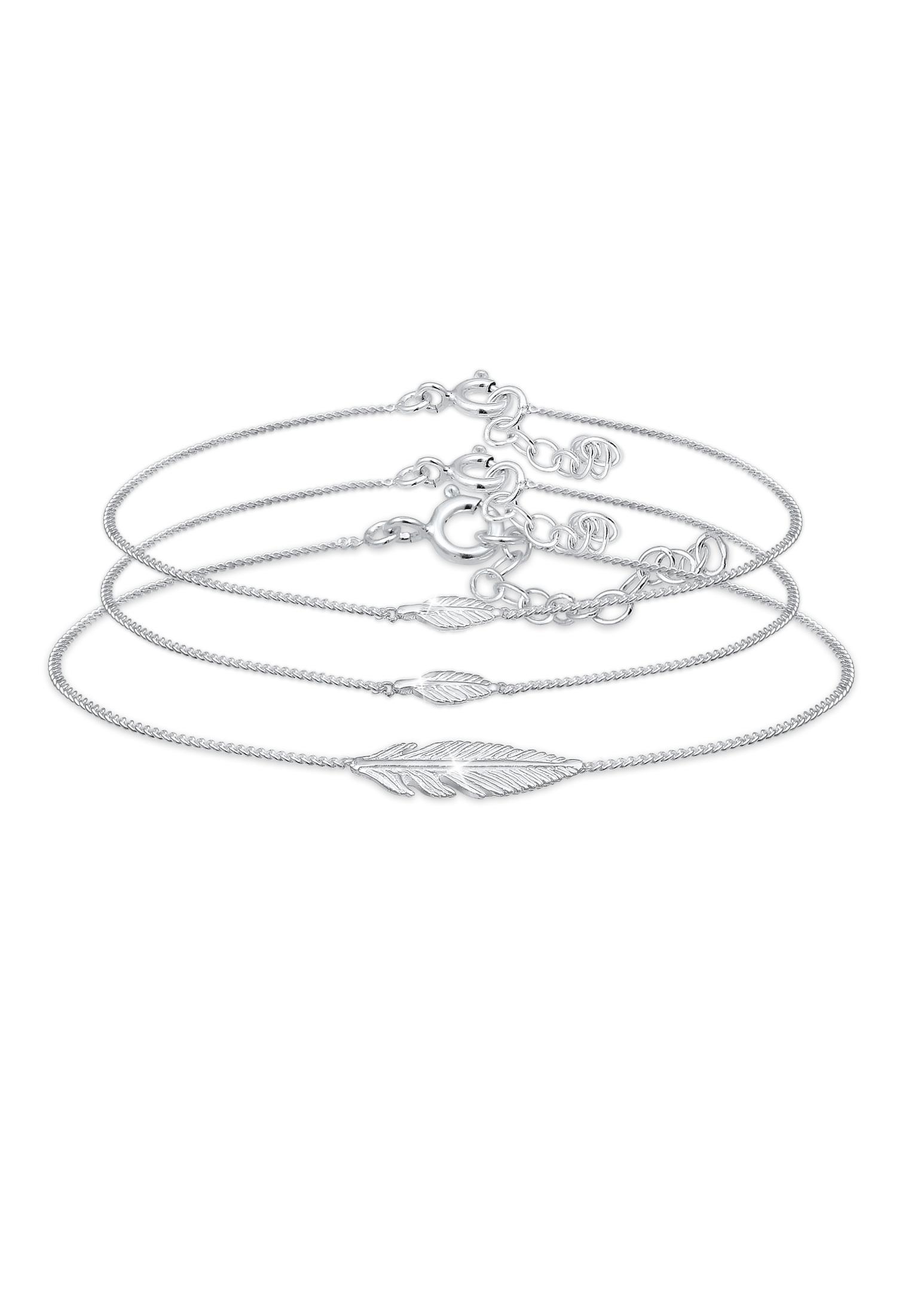 Mutter-Kind-Armbandset Feder | 925er Sterling Silber