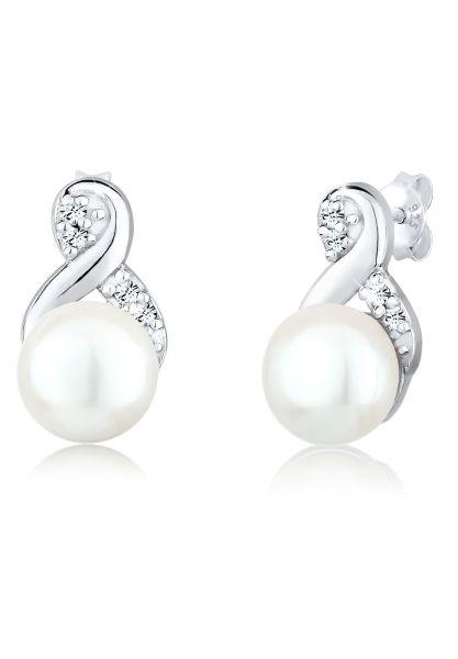 Elli Ohrringe Infinity Perle Kristalle 925 Silber