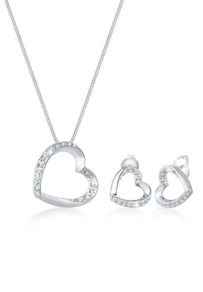 Elli PREMIUM Schmuckset Herz Verbundenheit Kristalle Silber