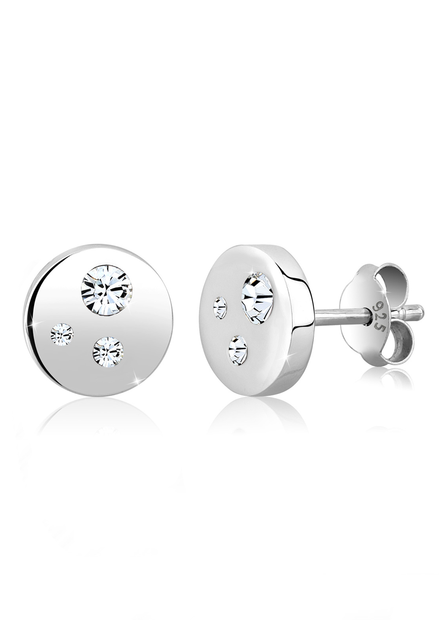 Ohrstecker Kreis | Kristall ( Weiß ) | 925er Sterling Silber