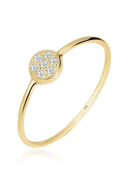 Elli PREMIUM Ring Kreis Scheibe Diamant 0.035 ct. 375 Gelbgold