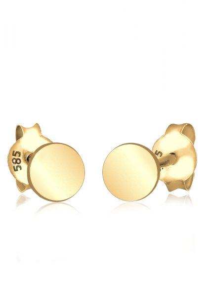 Elli PREMIUM Ohrringe Kreis Geo Trend Minimal Filigran 585 Gelbgold