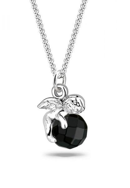 Halskette Engel   Onyx ( Schwarz )   925er Sterling Silber