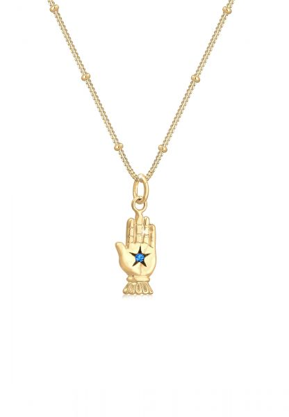 Kugel-Halskette Hamsa Hand   Kristall ( Blau )   925 Sterling Silber vergoldet