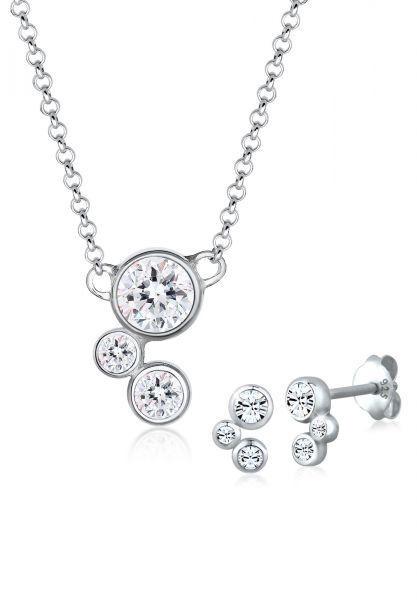 Elli Schmuckset Klassisch Kristalle 925 Sterling Silber