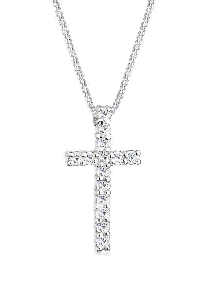 Halskette Kreuz   Kristall ( Weiß )   925er Sterling Silber