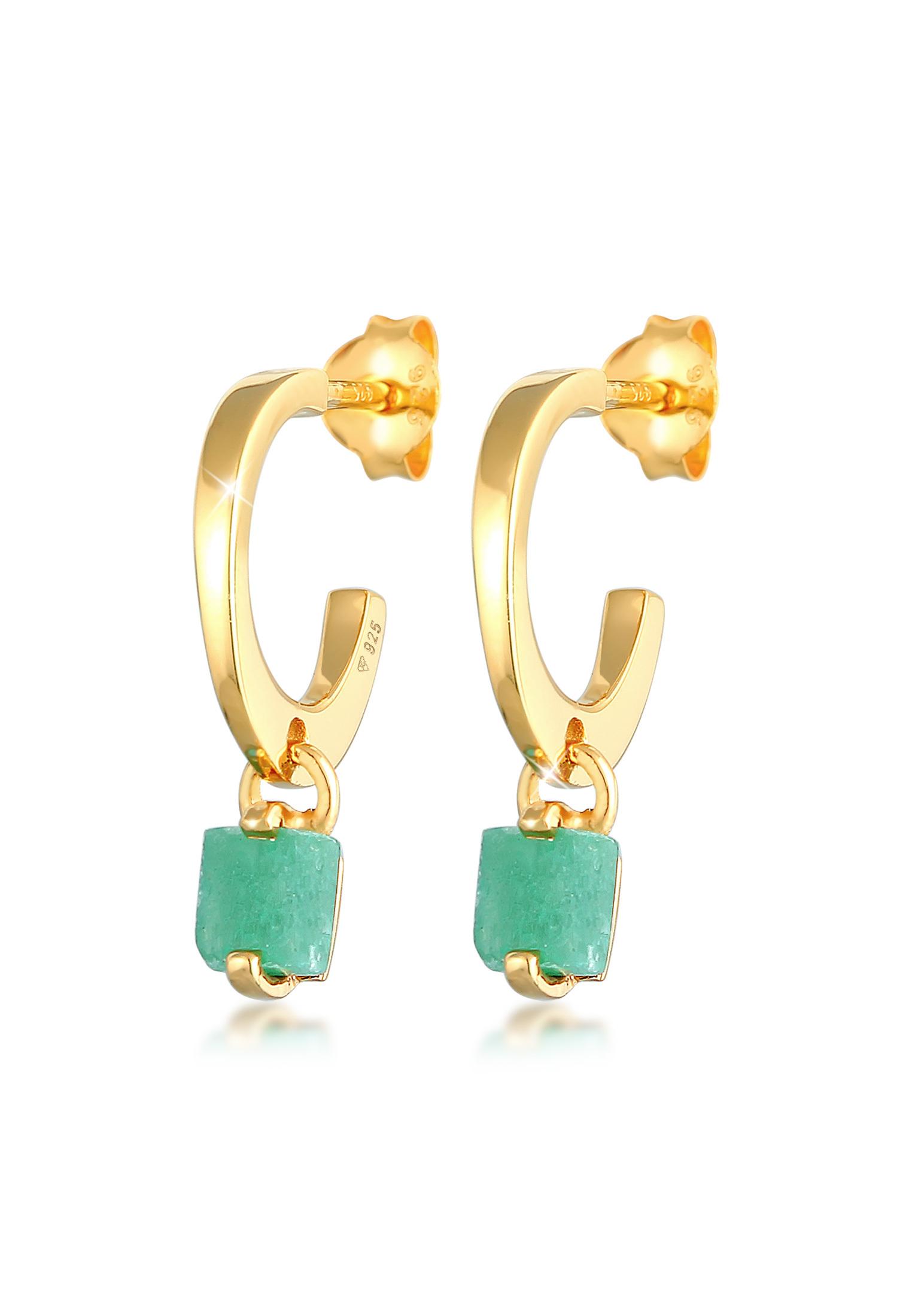 Creolen | Jade (grün) | 925er Sterling Silber