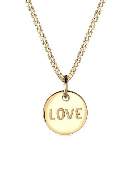 Elli PREMIUM Halskette Love-Schriftzug Liebe Wording 585 Gelbgold
