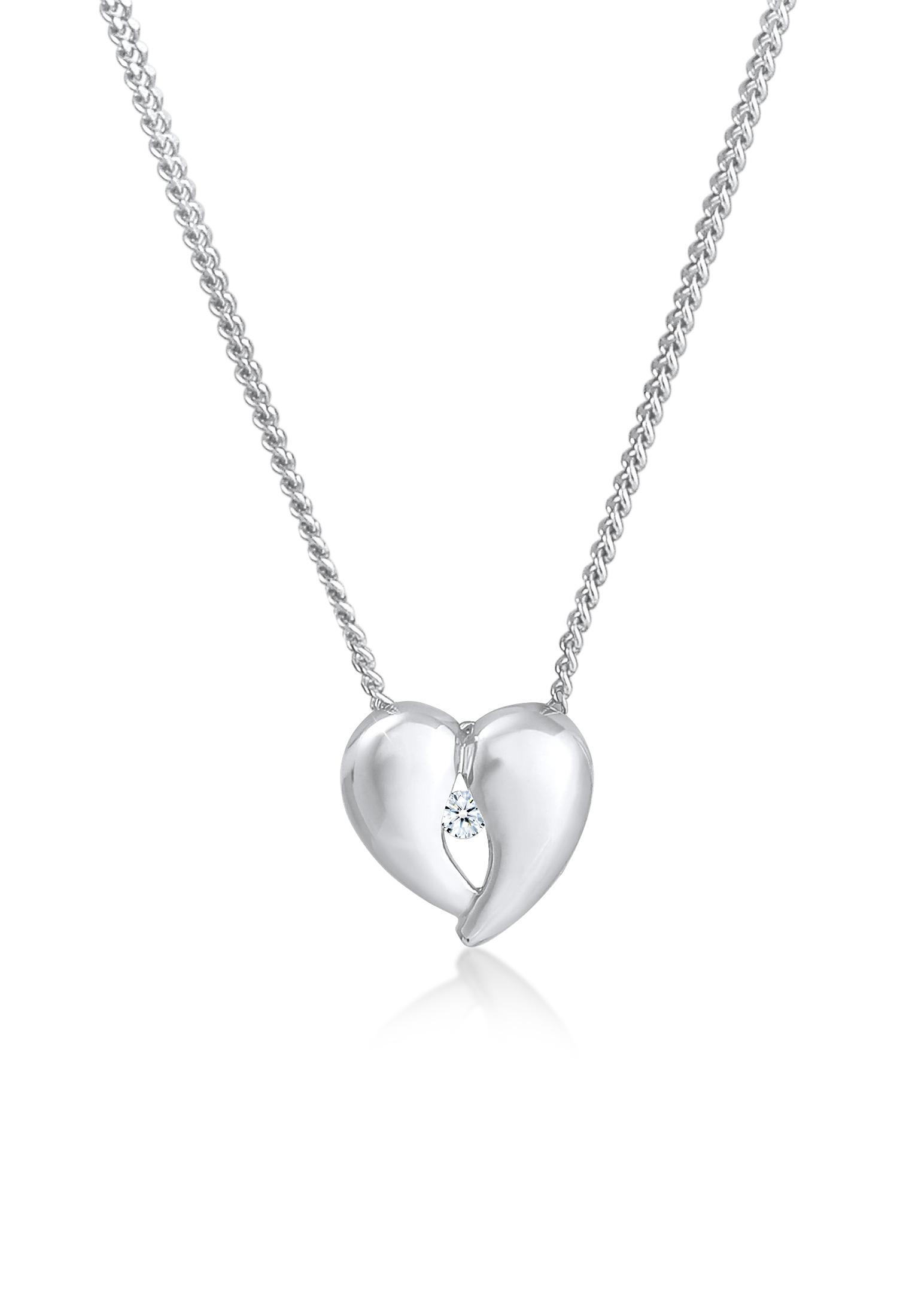 Halskette Herz | Diamant ( Weiß, 0,03 ct ) | 925er Sterling Silber