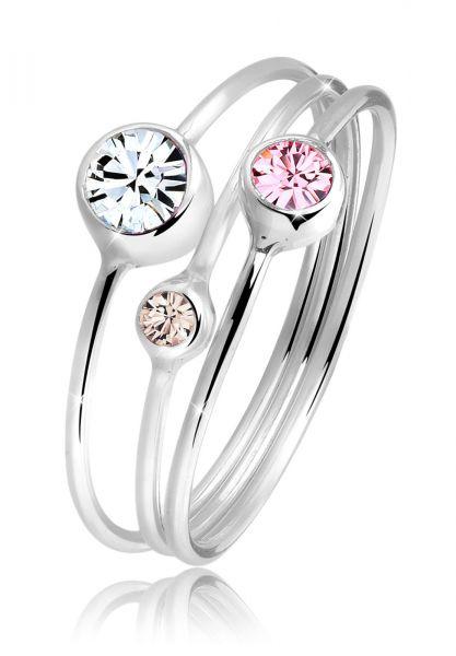 Elli Ring Stapelring Set Kristalle 925 Silber