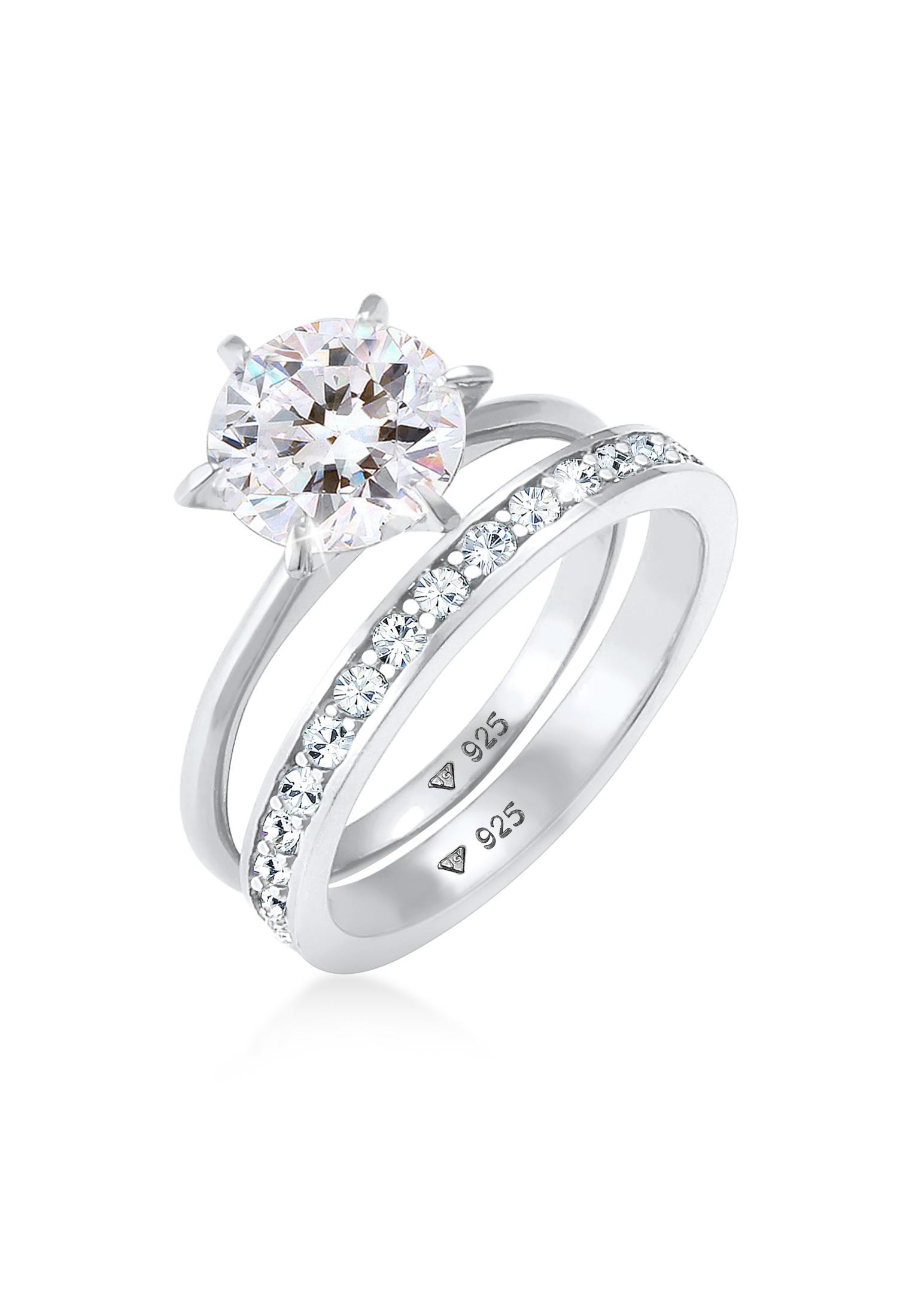 Ringset | Kristall ( Weiß ) | 925er Sterling Silber