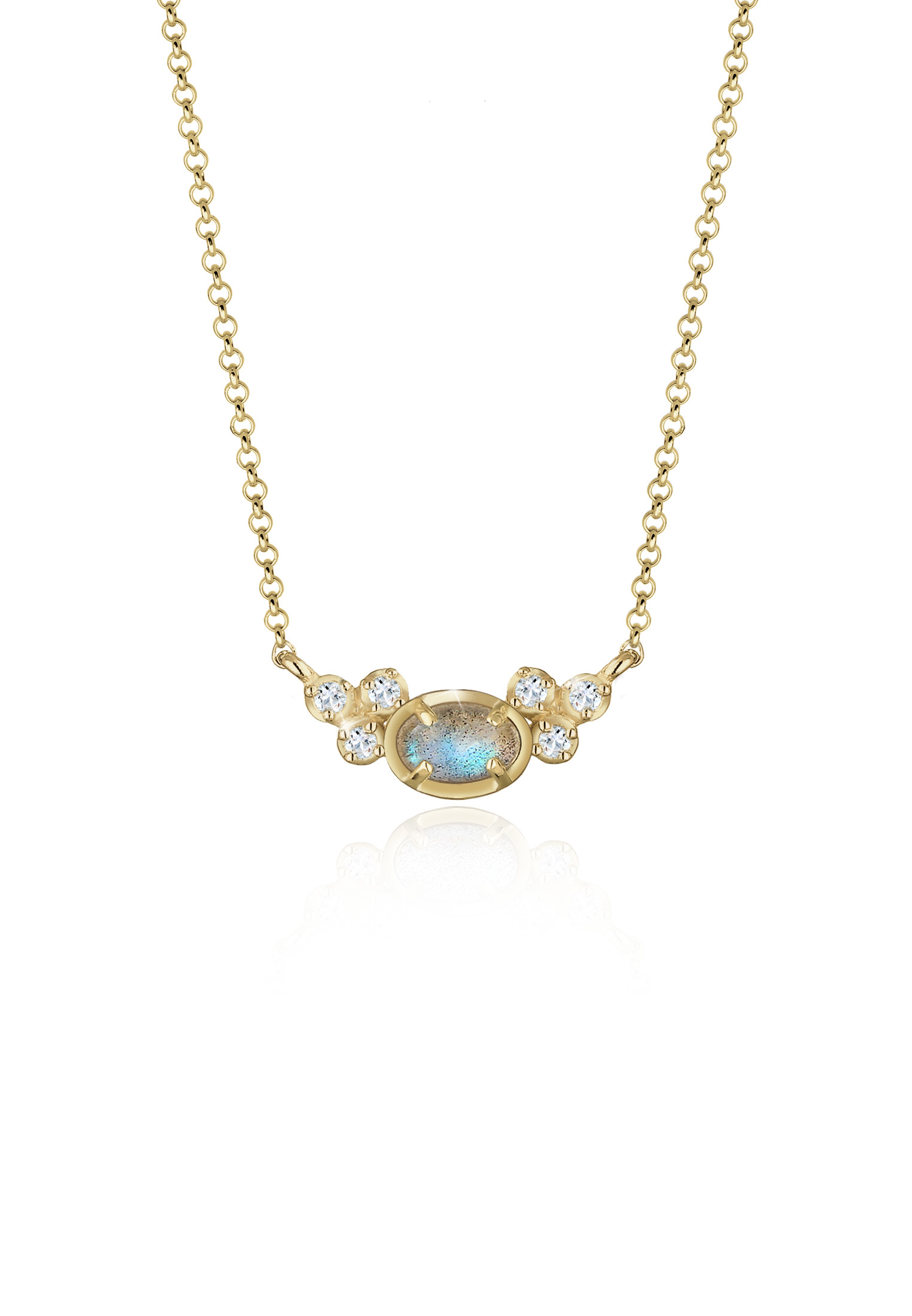 Halskette   Topas ( Weiß )   925 Sterling Silber vergoldet
