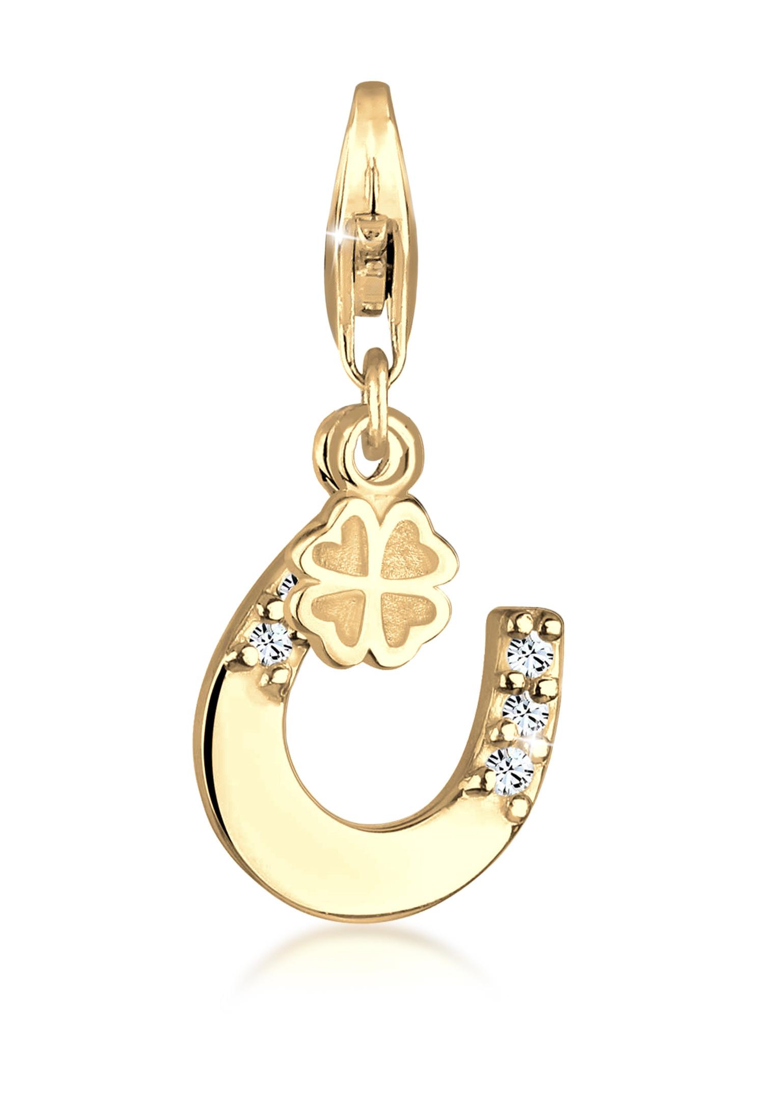 Charm Hufeisen   Kristall ( Weiß )   925 Sterling Silber vergoldet