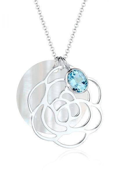 Elli Halskette Blume Perlmuttscheibe Topas 925 Sterling Silber