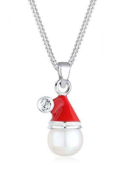 Elli Halskette Weihnachtsmannmütze Kristall 925 Silber
