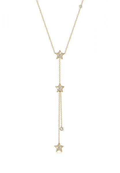 Y-Halskette Astro | Kristall ( Weiß ) | 925 Sterling Silber vergoldet