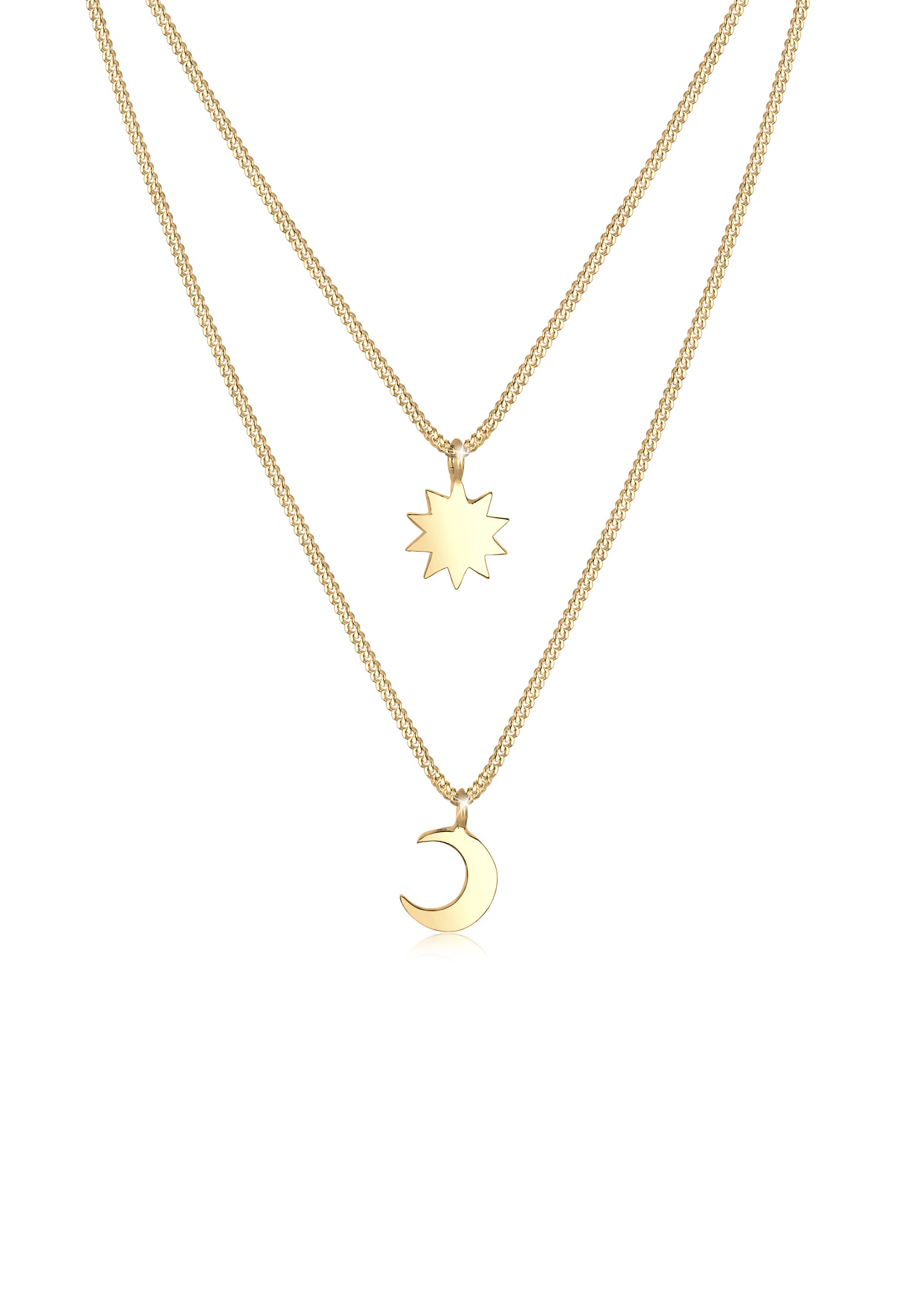 Layer-Halskette Halbmond   925 Sterling Silber vergoldet