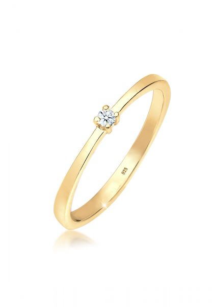 DIAMORE Ring Verlobung Solitär Diamant (0.03 ct.) 925 Silber