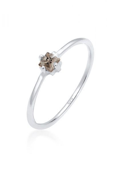 Verlobungsring | Quarz ( Braun ) | 925er Sterling Silber