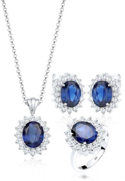 Schmuckset   Saphir ( Blau )   925er Sterling Silber