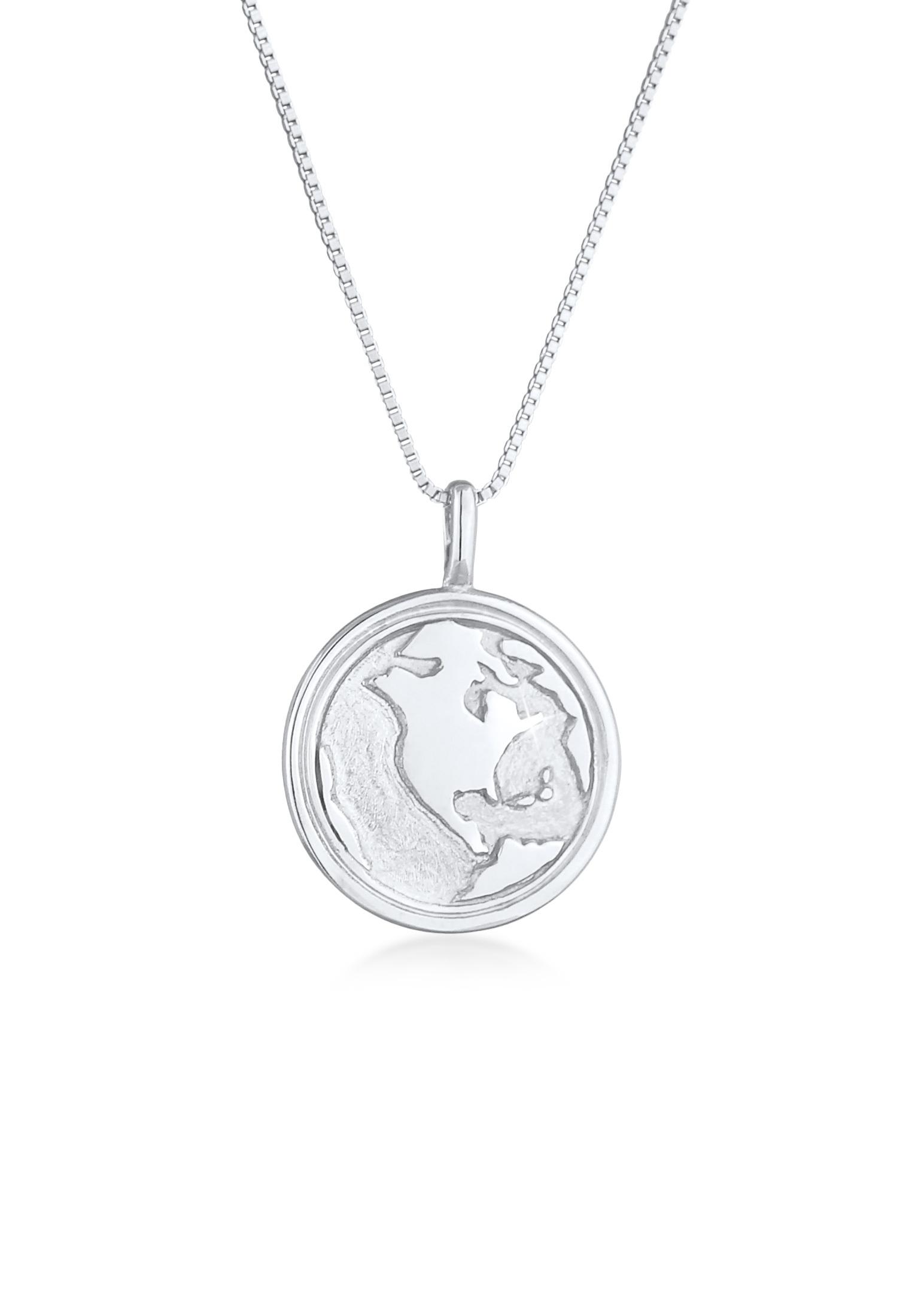 Venezianer-Halskette Weltkugel | 925er Sterling Silber