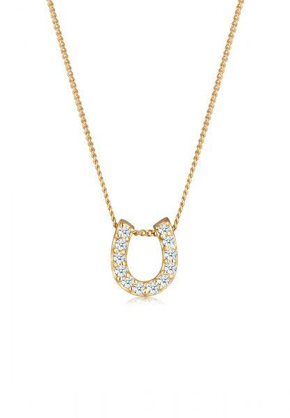 Halskette Hufeisen | Diamant ( Weiß, 0,18 ct ) | 585 Gelbgold