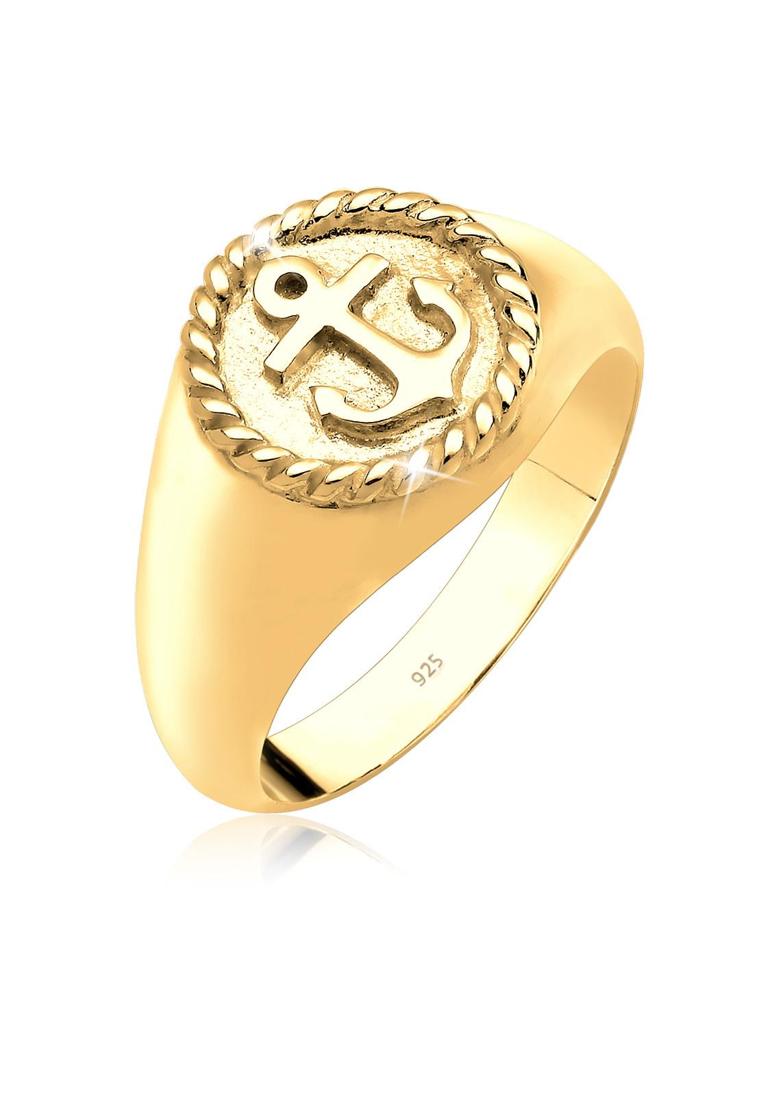 Ring Anker   925 Sterling Silber vergoldet
