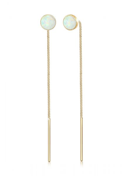 Ohrhänger Ear Chain | Opal ( Weiß ) | 925 Sterling Silber vergoldet