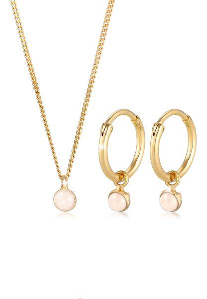 Schmuckset   Quarz ( Rosa )   925 Sterling Silber vergoldet