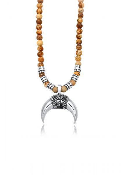 Halskette Halbmond | Achat ( Braun ) | 925er Sterling Silber